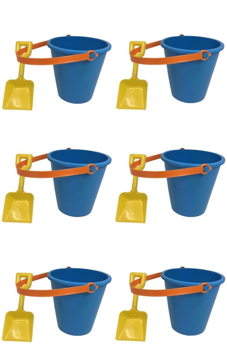 6 Inch Blue Pail & Shovel Set with Orange Handle 6 Piece Set