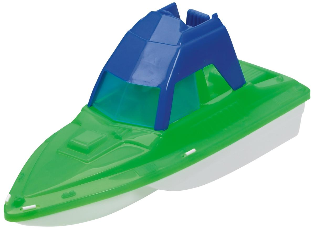Deluxe Cabin Cruiser Boat Green and Blue