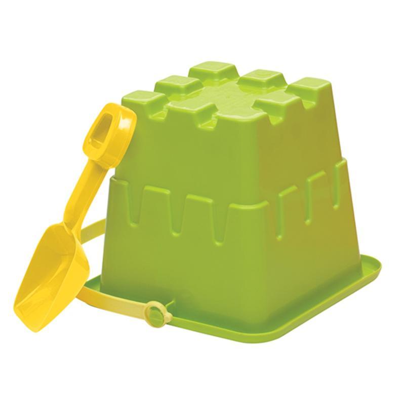 Square Sand Mold Pail & Shovel Set Green 8 Inches