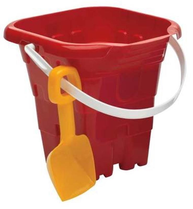 Jumbo Square Red Castle Mold Pail and Shovel
