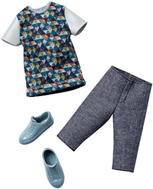 Barbie Fashions-Ken Fashion Geometry Shirt And Gray Short