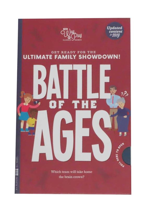 Battle of The Ages Game Family Kids Adults Bookcase Edition