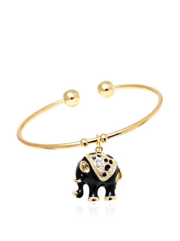Black Crystal Elephant Bangle Bracelet