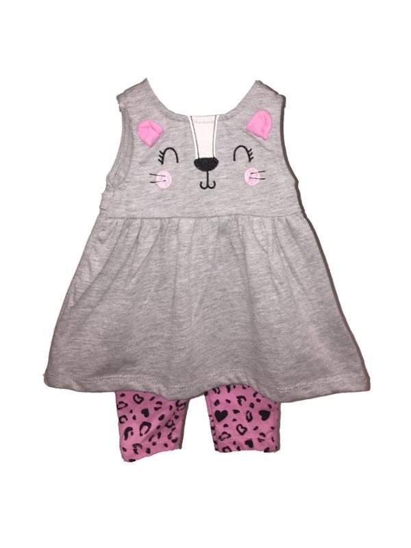 Kitten Dress and Leggings Set 0 to 3 Months