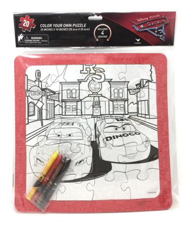 Cars 3 Color Your Own Large Puzzle with Crayons 20 Pieces