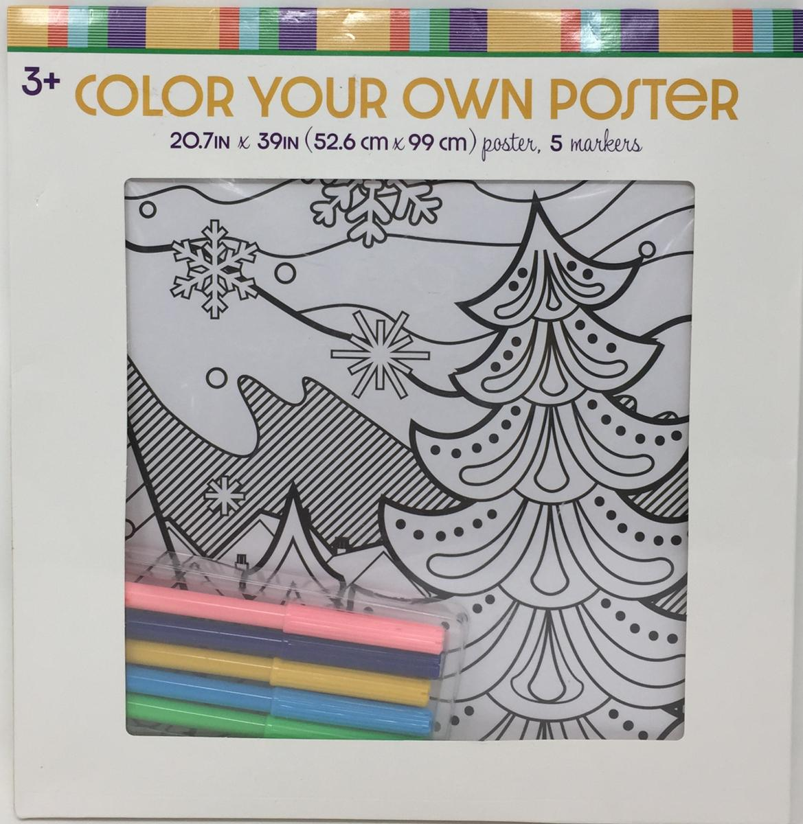 Color Your Own Poster Winter Village