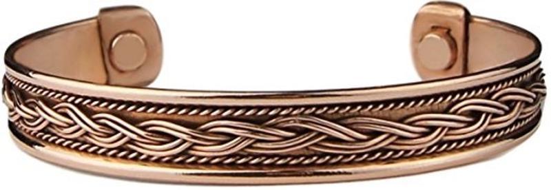 Copper Magnetic Braided Cuff Bracelet