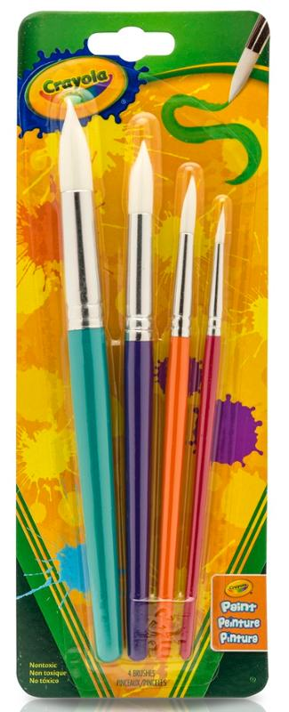 Crayola Round Soft Bristle Paint Brush Set in Various Sizes 4 Count