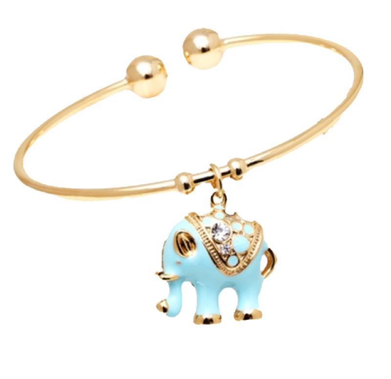 Green Crystal Elephant Bangle Bracelet