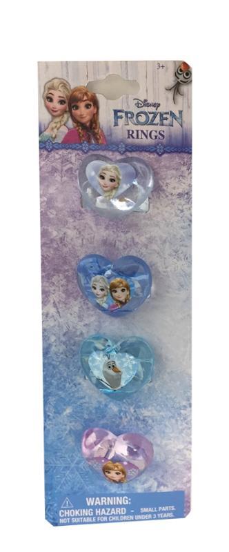 Frozen Heart Shaped Plastic Rings 4 Pc