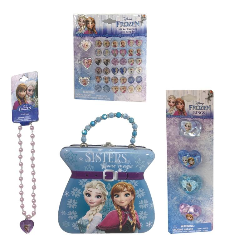 Frozen Tin Purse - Necklace - Earrings and Rings 4 Piece Bundle