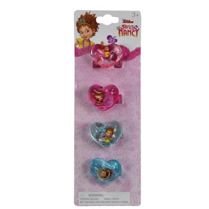 Fancy Nancy Heart Shaped Plastic Rings 4 Pc