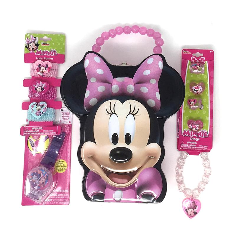 Minnie Mouse Face Shaped Tin Purse - Bracelets - Hair Ponnies - Rings and Lip Gloss Watch 10 Piece Bundle