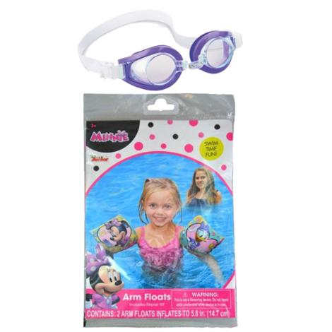 Red's Toy Shop Arm Floats and Goggles Minnie Themed Summer Swimming Bundle