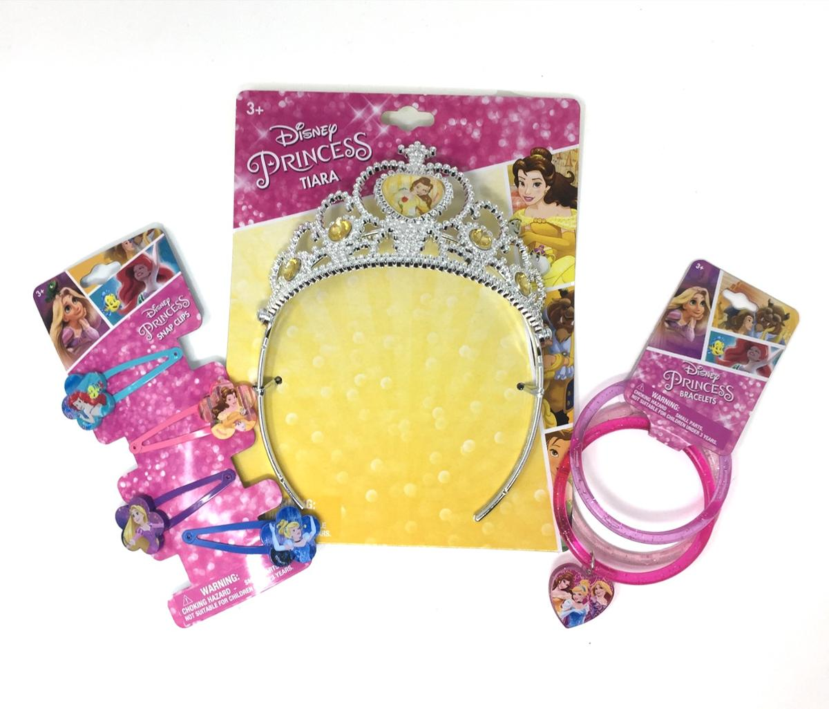 Disney Princess Crown, Hair Snaps, and Bracelets Birthday Set
