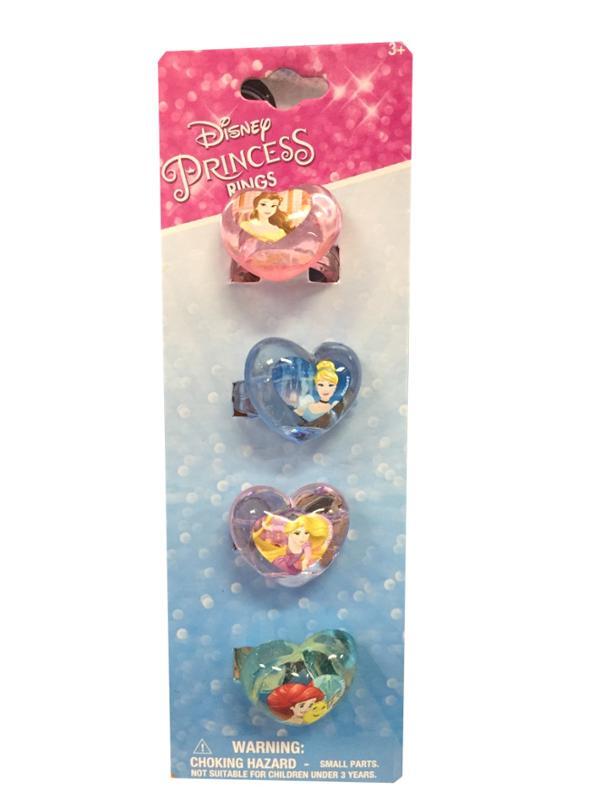 Disney Princess Heart Shaped Plastic Rings 4 Piece set, party favor