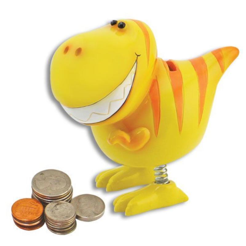 T Rex Dinosaur Coin Bank with Spring Legs