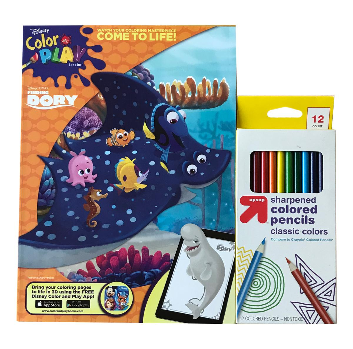 Dory Coloring Activity Book and Colored Pencils