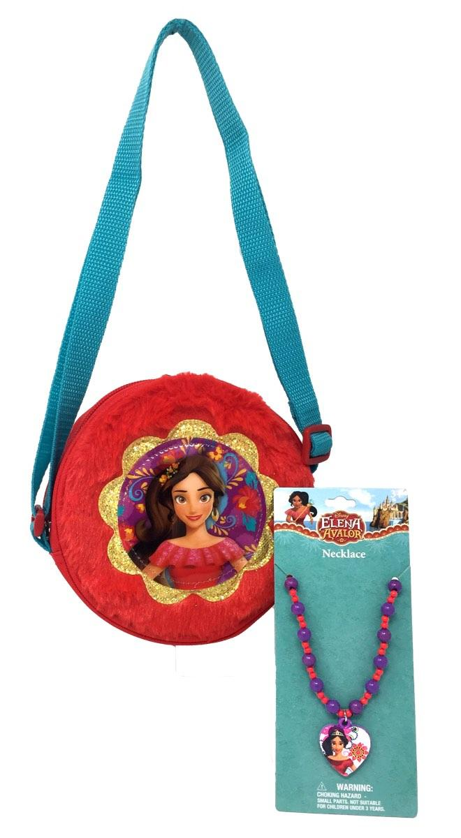 Elena Plush Round Crossbody Bag and Necklace