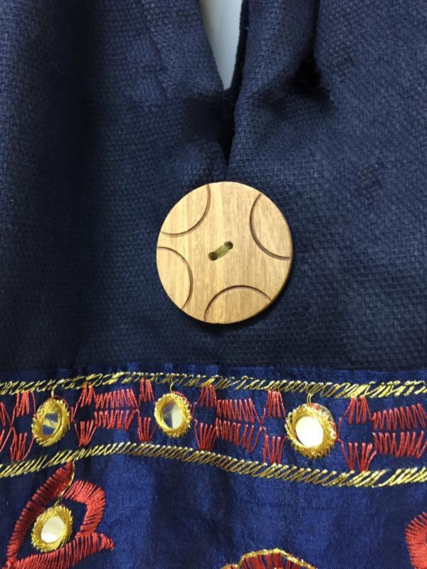 Embroidered Handmade Cotton Hobo Bag, Blue