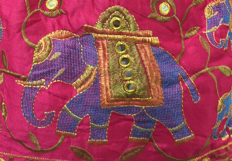 Elephant Embroidered Handmade Pink Cotton Hobo Bag with Patchwork