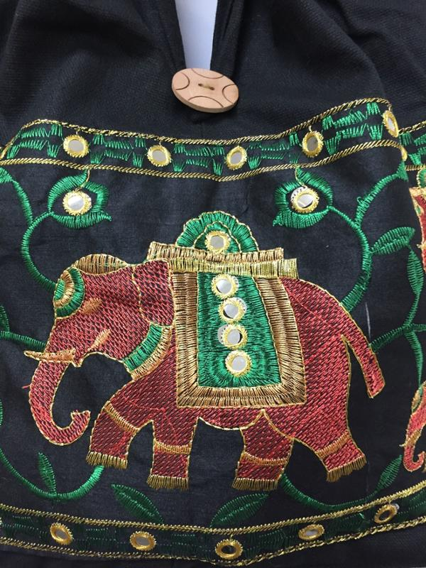Elephant Cotton Embroidered Handmade Black Hobo Bag with Patchwork