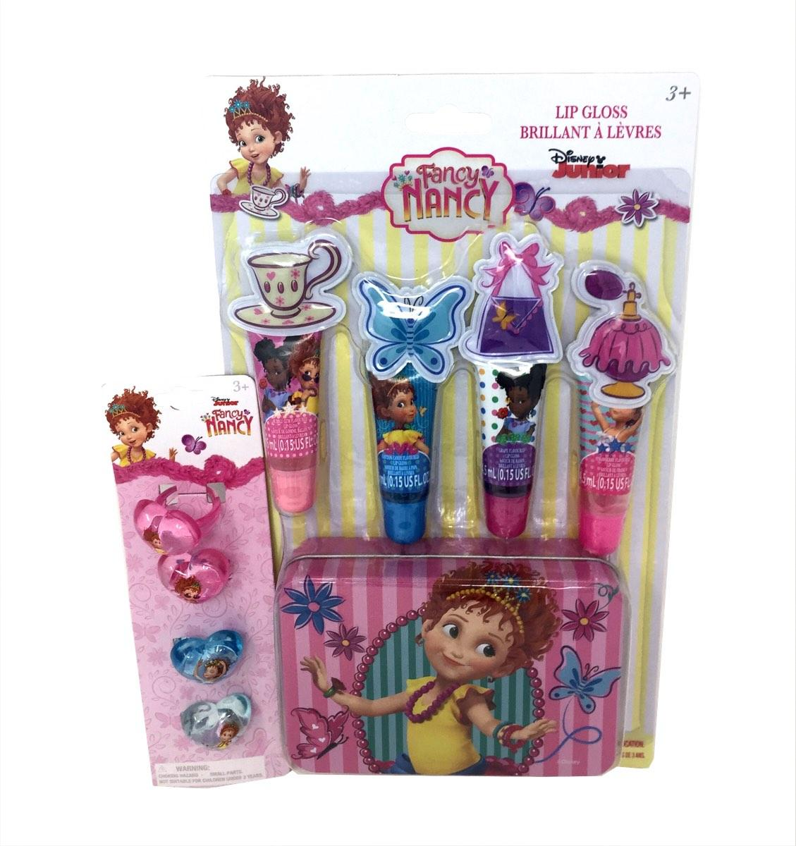 Fancy Nancy 4 Pack Lip Tube with Tin and 4 Piece Ring Set
