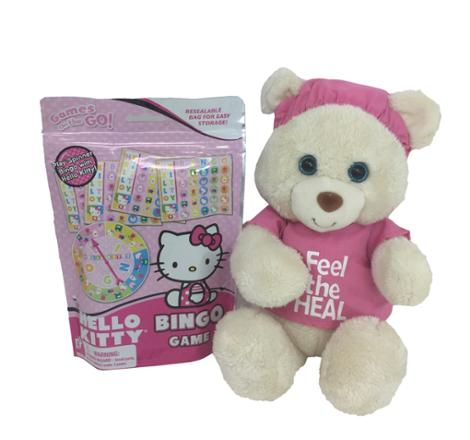 Feel the Heal Pink 11 Inch Bear with Bingo Game