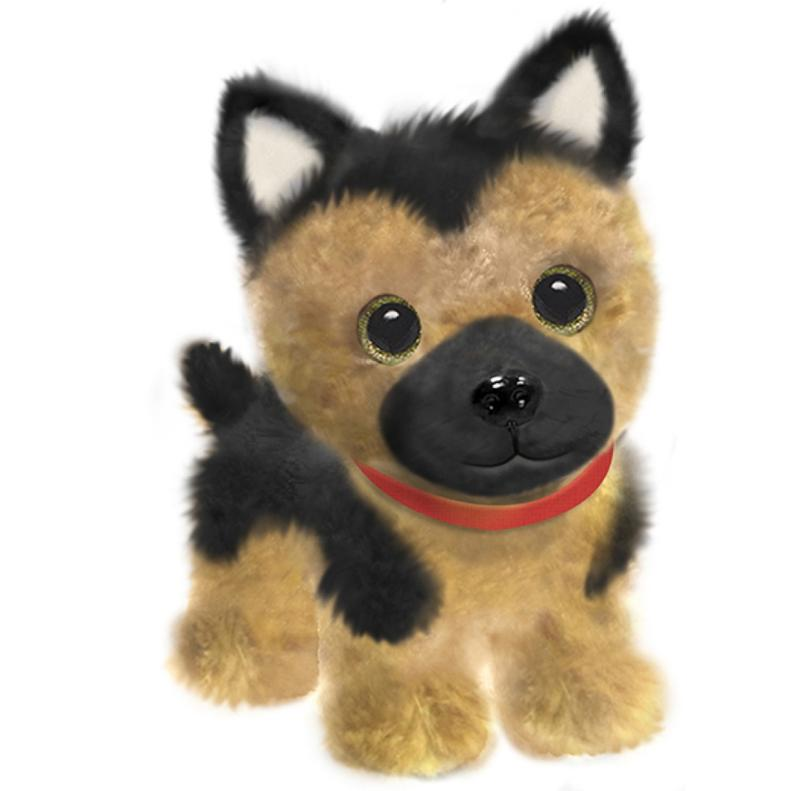 First and Main - Wuffles German Shepard Plush Dog, 7 Inches Sitting
