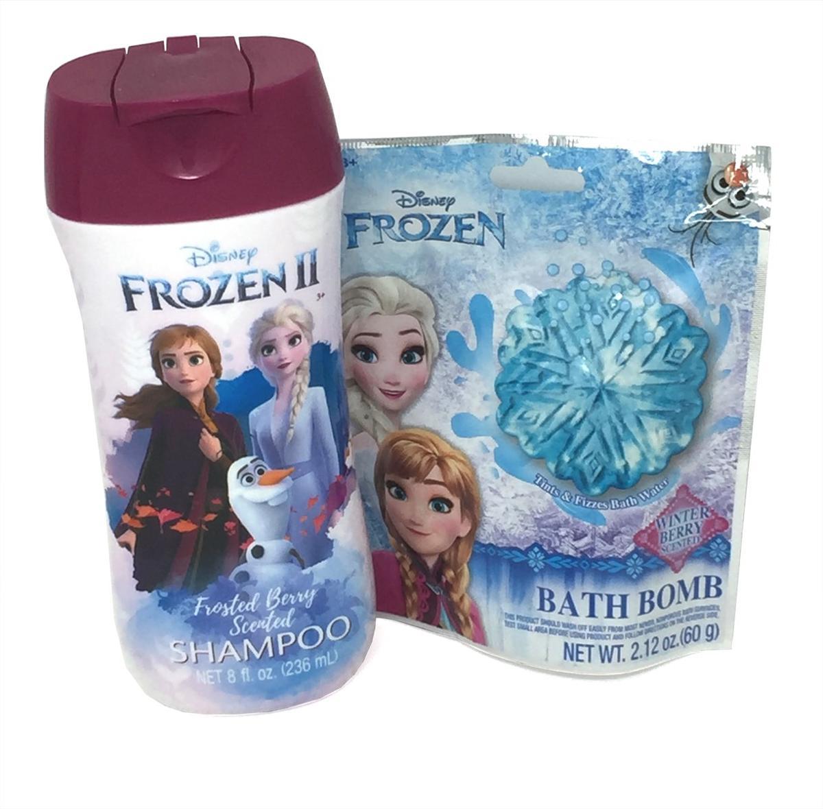 Frozen II Berry Scented Shampoo And Bath Bomb Bundle