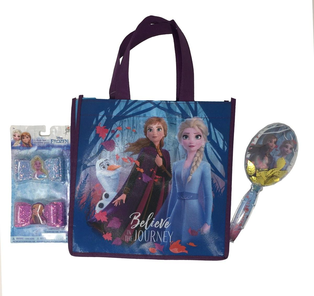 Frozen 2 Tote Bag, Hair Clip Bows, and Confitti Brush