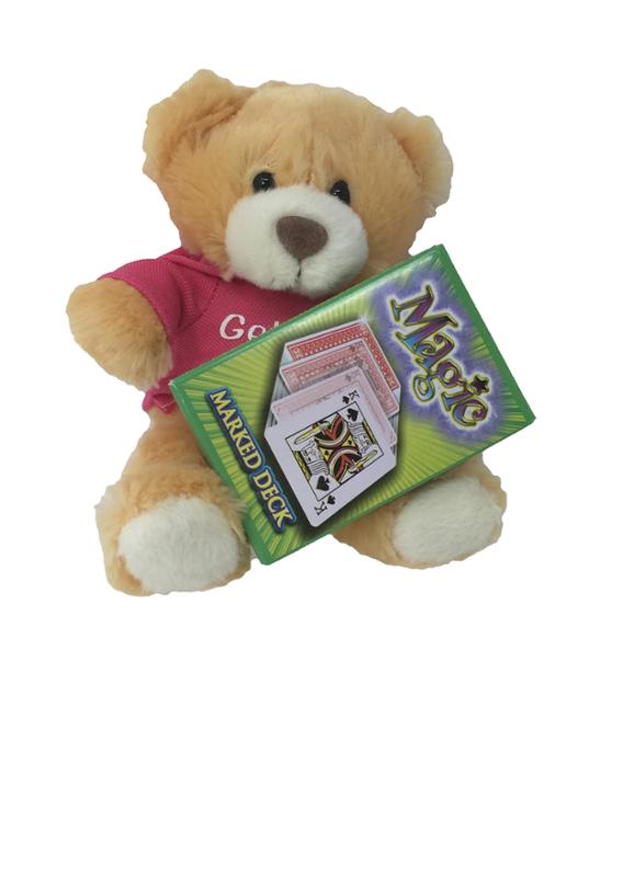 Get Well Soon Talking Bear with Pink Shirt and Deck Of Magic Cards Gift Set