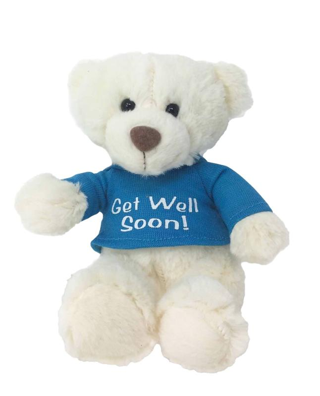 Get Well Soon Talking Blue Shirt Bear Gift Set