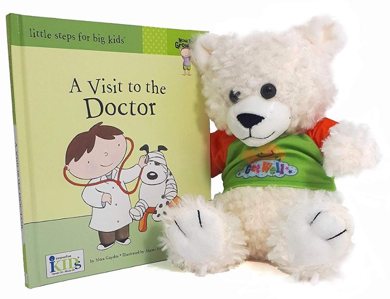 Get Well Teddy Bear and A Visit to the Doctor Book Gift Set