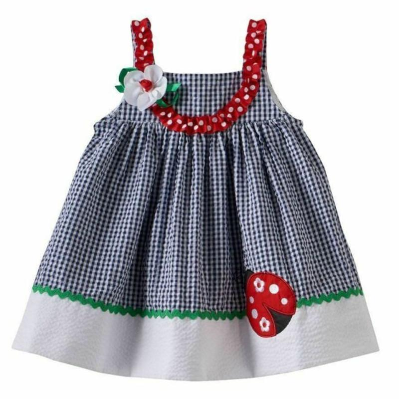 Gingham Ladybug Sundress and Bloomers 0-3 Months