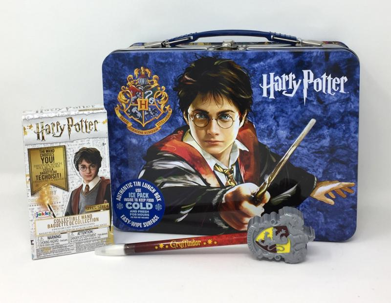 Harry Potter Tin Lunch Box, Mystery Wand, and Mystery Pen