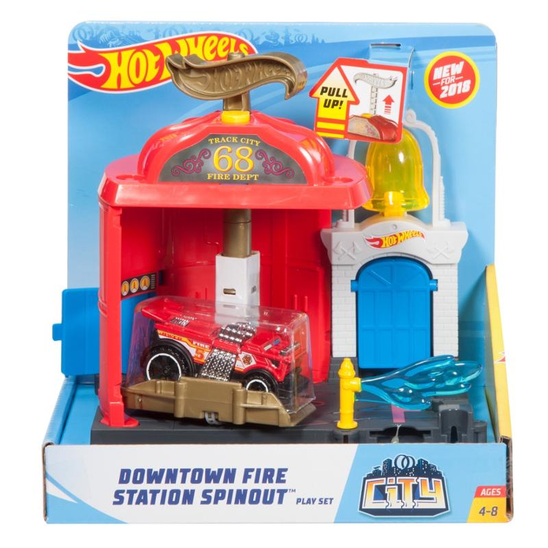 Hot Wheels Downtown Fire Station Spinout Playset