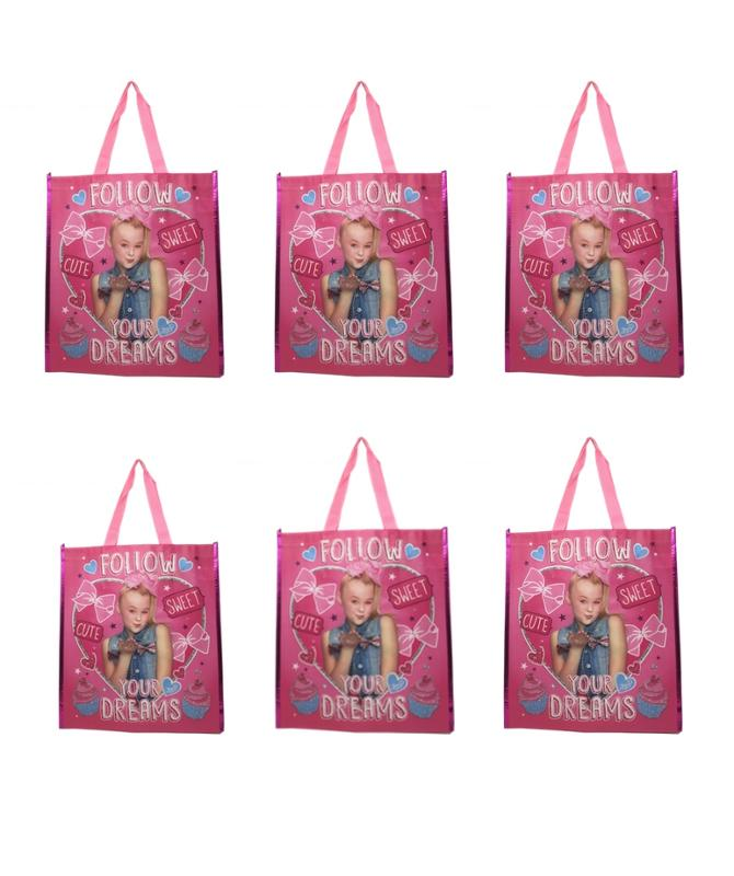JoJo Siwa Reusable 16 Inch Tote or Gift Bags with Handles, 6 Pack Party Set