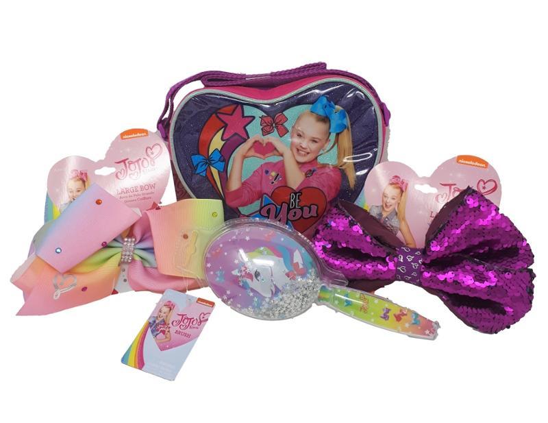 JoJo Siwa Bows Set, 2x Hair Bow, 1x Unicorn Confetti Hair Brush and 1x Heart Shape Purse, a 4 piece Gift Set in a Gift Bag