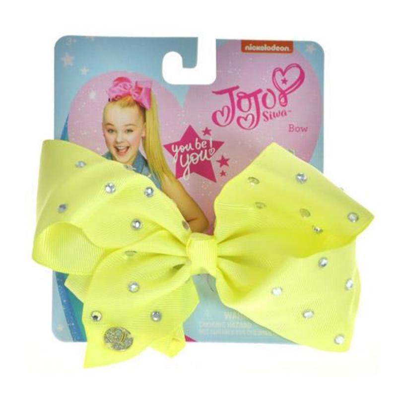 JoJo Siwa Light Yellow Bow and All Over Star Stone