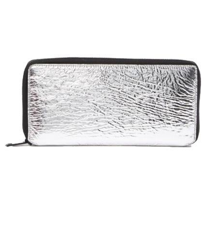 Silver Metallic Zip Around Wallet