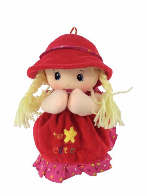 Keira Prayer Doll Plush with Red Dress, Speaks Angel De La Guardia in Spanish