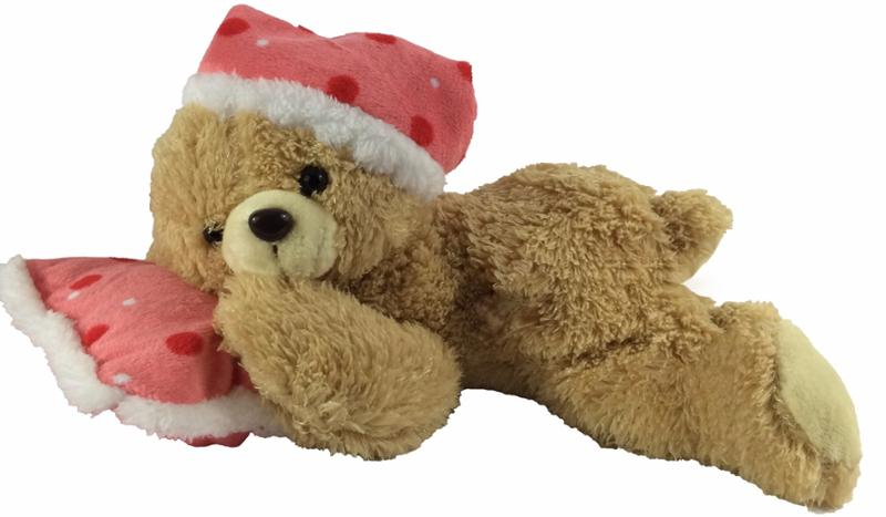 Pam Bear Red Polka Dot Pillow with Sounds