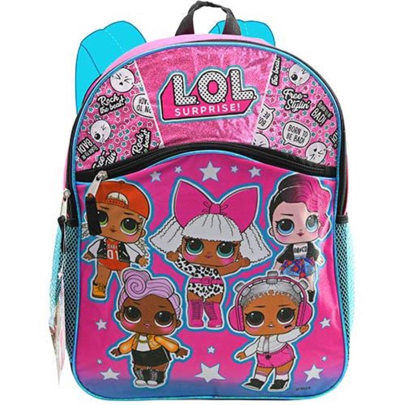 L.O.L. Surprise! 16 Inch Pink and Green Glitter Backpack with Front Pocket