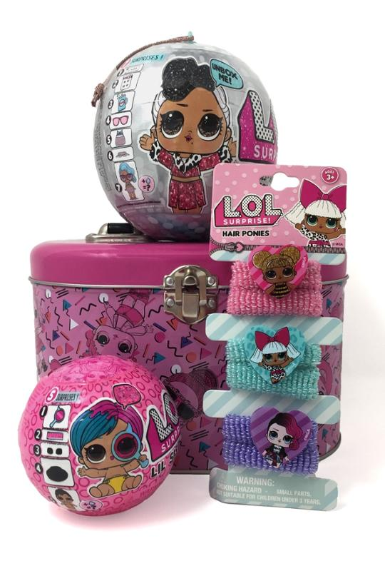 L.O.L. Surprise Bling, Lil Sister, Hair Ponies in a Storage Tin