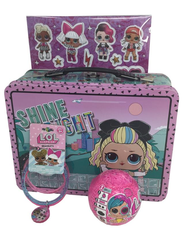 LOL Surprise Lunchbox - Bracelet - Sticker Sheet and Lil Sister Doll Bundle