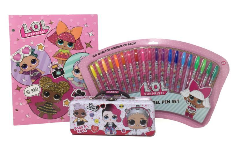 LOL Surprise Folders, Gel Pens and Pencil Case Bundle