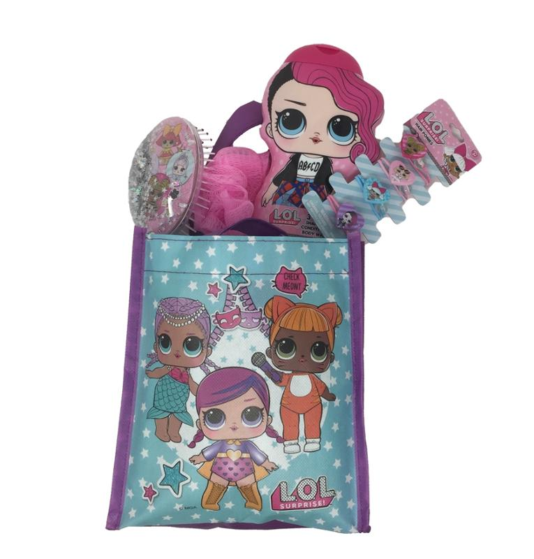 LOL Surprise Tote Bag - 3-1 Shampoo - Conditioner - Body Wash with Surprise - Brush - Hair Ponies and Loofa Bundle