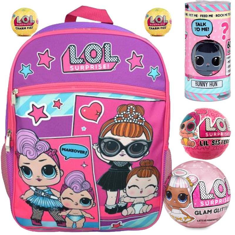 L.O.L. Surprise! Glam Glitter, Interactive Live Pet, LOL Backpack, Lil Sister and Fizz Ball - 6 Pc Gift Set