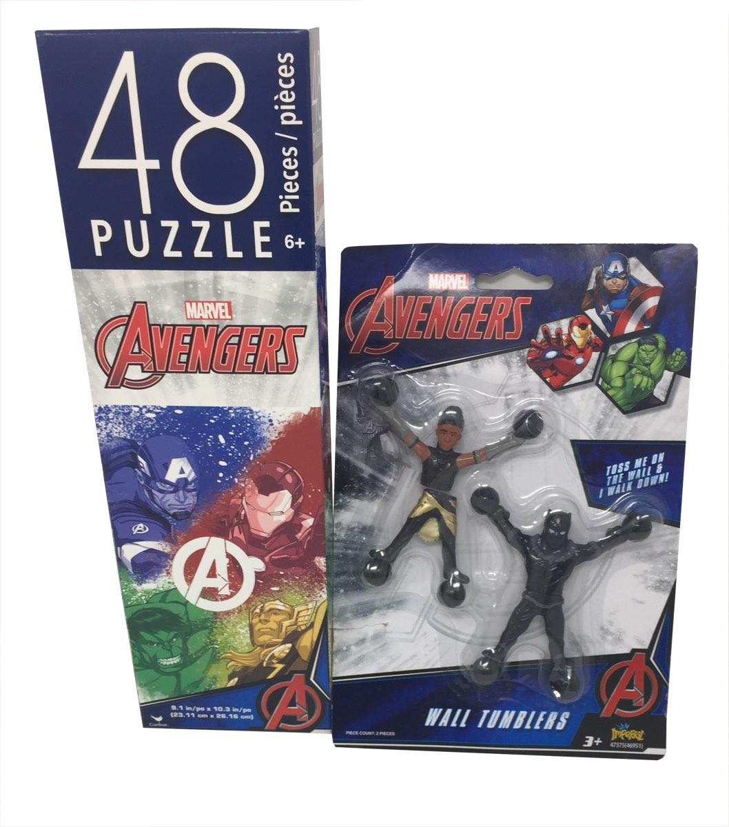 Marvel Avengers 48 Piece Puzzle and 2 Randomly Selected Marvel Wall Tumblers